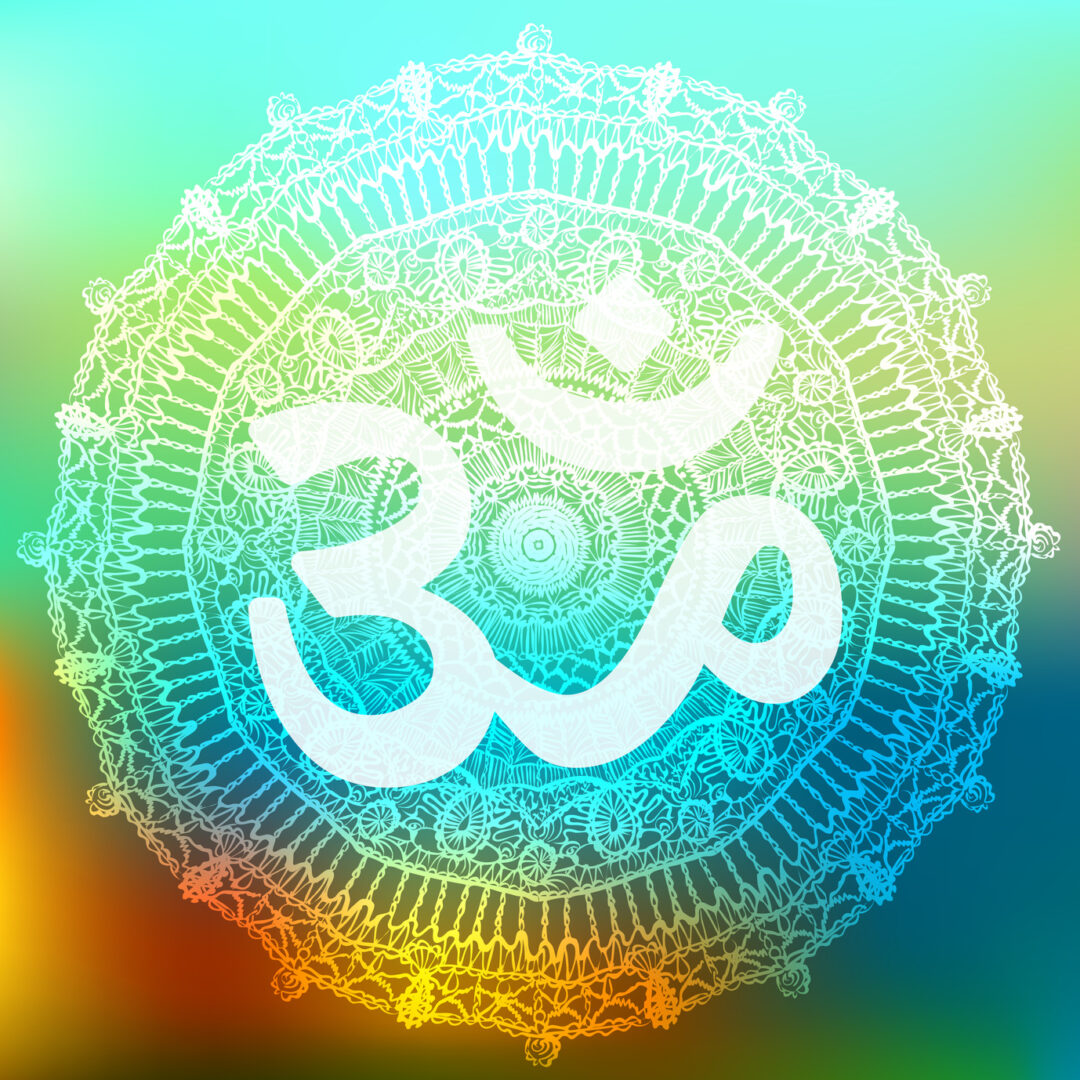 Vector oriental mandala with om symbol. Circle meditative yoga design, traditional indian style